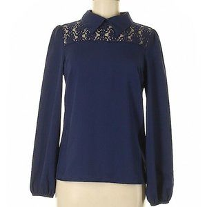 Fashion Union US 12 XL UK 16 Navy Lace Inset Top